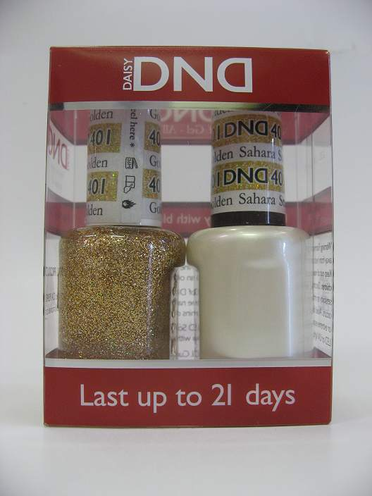 DND Gel Polish / Nail Lacquer Duo - 401 Golden Sahara Star