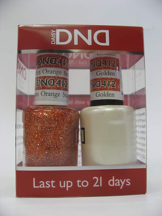 DND Gel Polish / Nail Lacquer Duo - 412 Golden Orange Star