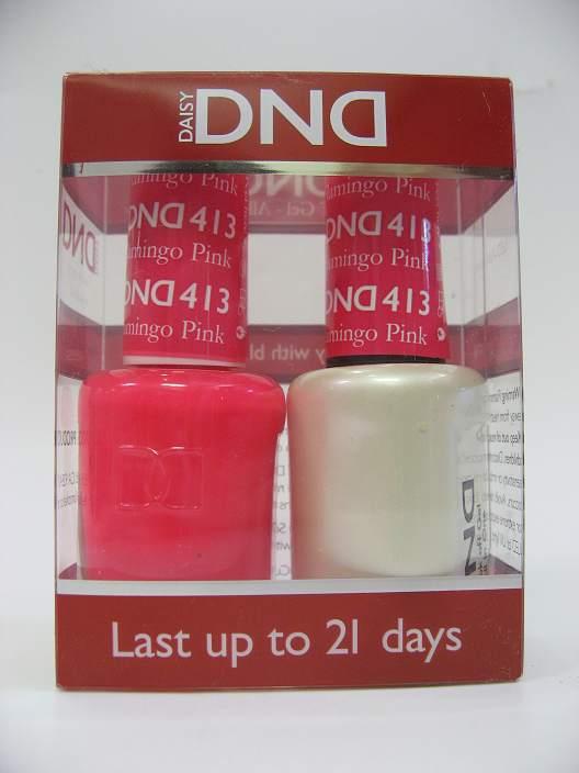 DND Gel Polish / Nail Lacquer Duo - 413 Flamingo Pink