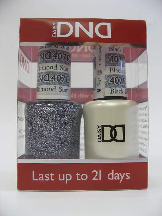 DND Gel Polish / Nail Lacquer Duo - 407 Black Diamond Star