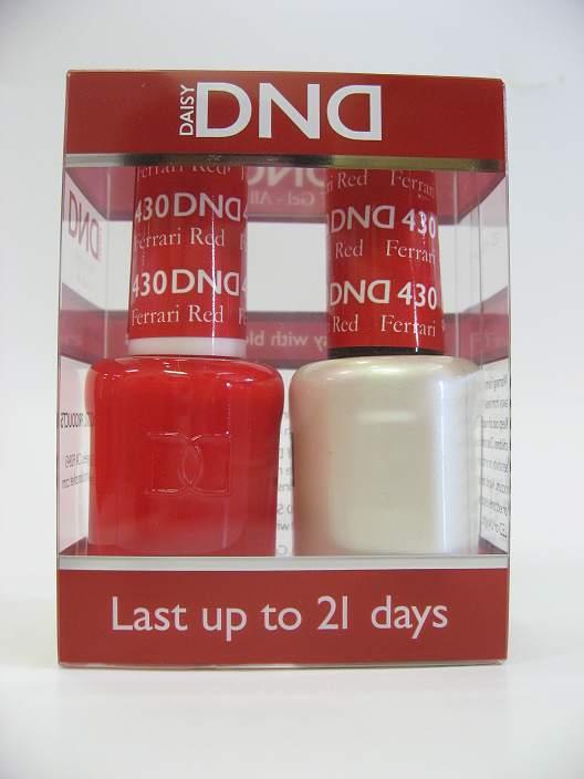DND Gel Polish / Nail Lacquer Duo - 430 Ferrari Red